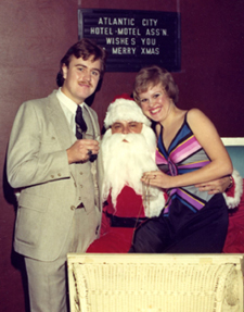 Donna Andersen attended a business association Christmas party while editor of Atlantic City Magazine. Left is her brother, Doug Andersen.