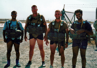 Roger Mills, second from left, participated in a scuba exercise while deployed with the Special Forces in 2001 or 2002.