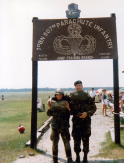 Roger Mills, right, with Kathleen's son, Bill Epley at Fort Benning, GA, in 1997. Maj. Mills accompanied Epley on his first paratrooper jump.