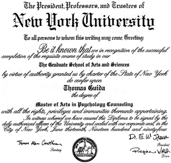 "Tom Guida has a ""diploma"" from New York University. The college has no record of him."