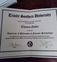 Tom Guida's degree from Trinity Southern University, which is rated as a diploma mill.