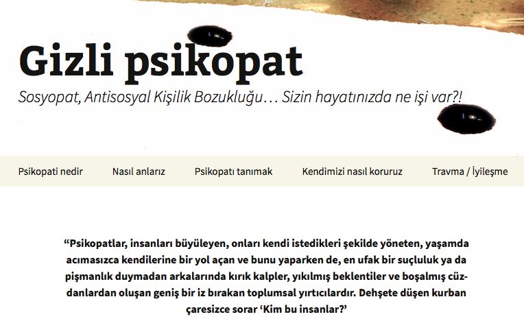 Turkish website on psychopaths