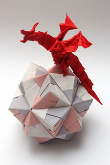 Origami Dragon On Paper