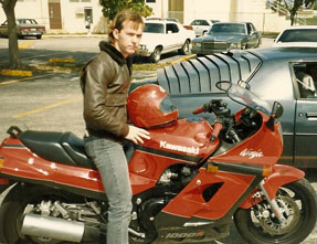 Patrick Alexander on motorcycle